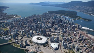 Birds eye view of BC Place Stadium